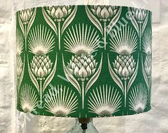 Emerald Green Thistle Lampshade, Lighting, Living Room, Drum Lamp Shade, Home Decor, Art Deco