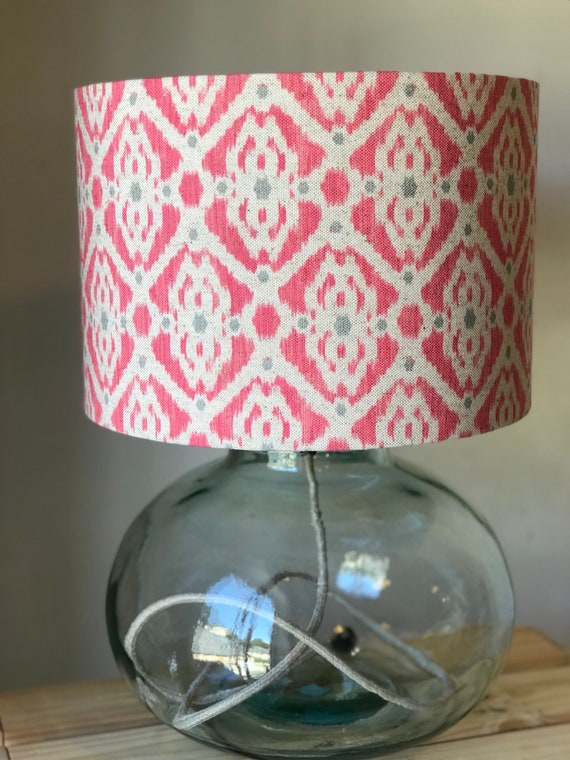 Ikat Style Mustard and Grey Linen Drum Lampshade