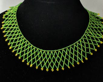 Hand-Stitched Netted Necklace with Netted Bead Earrings