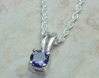 Natural Iolite Gemstone Necklace. Sterling Silver Iolite Pendant with 16 inch Chain.Ideal 16th,18th,21st birthday or Anniversary,Present