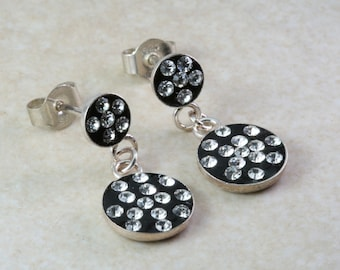 Silver dropper ear rings. Circular set with Cubic Zirconia's. Christmas,Birthday,Anniversary Present.