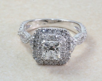 Fine Rings Provided Cushion 0.69 Ct Real Diamond Engagement Ring Solid Platinum Rings Size J M N P