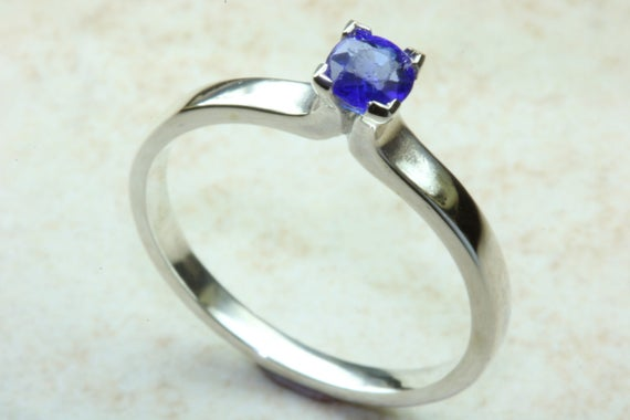 Natural Blue Sapphire Ring Sterling Silver September Etsy