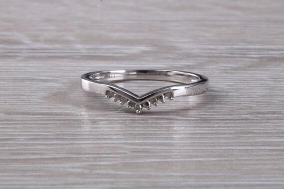 Solid 9ct Yellow Gold Genuine 0.25ct Black Diamond Wishbone Design Ring Gift Box