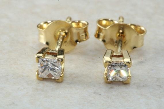 b9ed6327b51 Simple diamond solitaire stud earingsreal princess cut