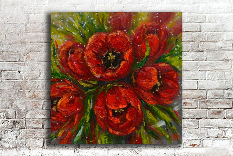 Red Flowers Tulip Art Painting Textured Flower Oil Canvas Colorful Impasto  Palette Knife Vivid Spring Decor Floral Wall Art Wall Decor