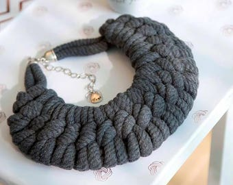 Graphite rope necklace