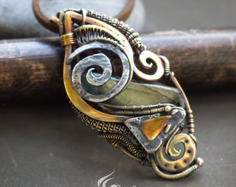 Smoky Quartz Wire Wrap Pendant  Dragon Eye  Gold Fill /& Sterling Silver Wire  Heady Wire Wrap Pendant for Men and Women