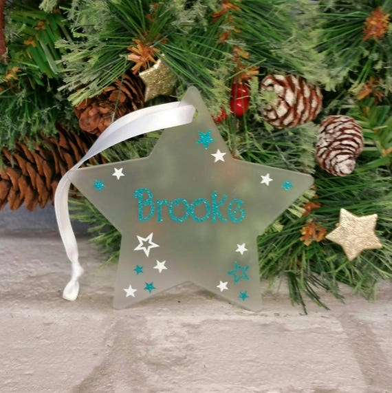 Personalised Love You More Acrylic Christmas Tree Star Decoration Bauble Gift