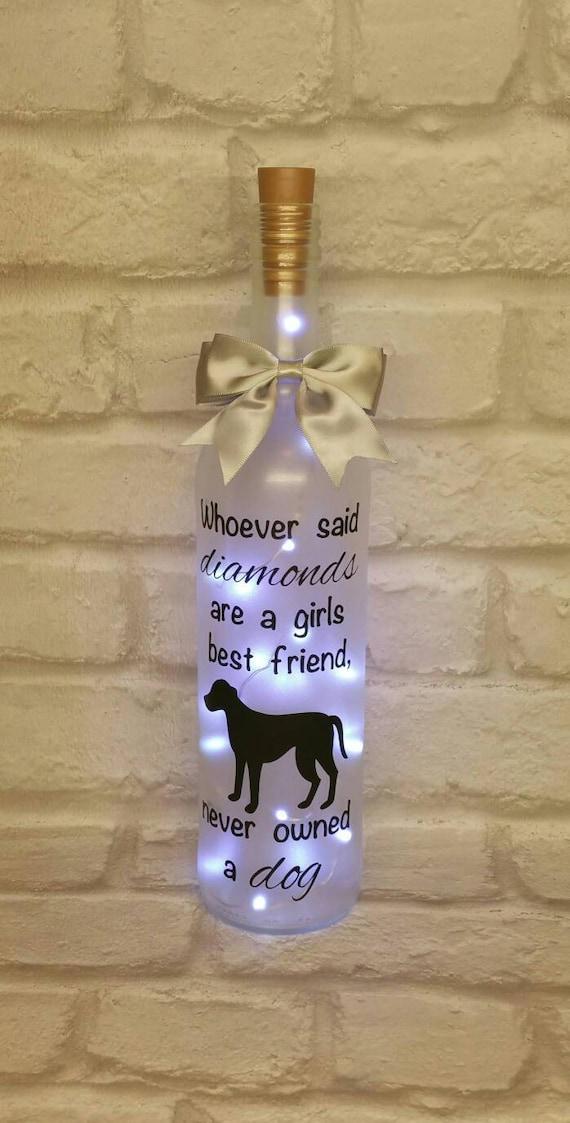 Light Up Wine Bottle Gift Dog Lover Birthday