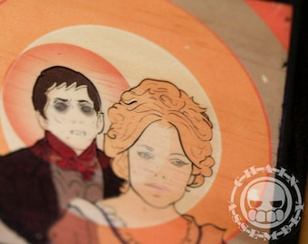"""Barnabas and Angelique on Wood Panel; 5 1/2"""" x 5 1/2"""" x 1/2"""""""