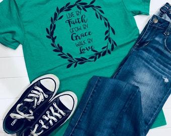 a4d569e2 Live by Faith, Grow by Grace, Walk by Love, Faith Tee, Grace Tee, Love Tee,  Inspirational Tee, Soft Tee, Cotton