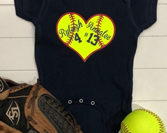 870619ed5 Softball Onesie | Softball Onesie with Names | Custom Baby Onesie | Cute  Baby Outfit | Newborn Baby Outfit