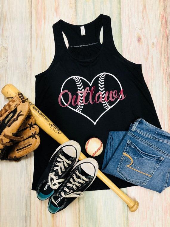 4702a575b0912 Outlaws Baseball Tank Any Team Name Heart Ladies Flowy