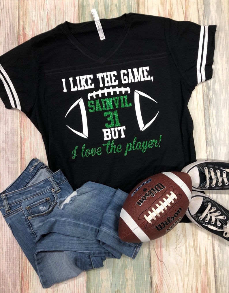 I like the game but I love the player Football Mom Tee  cb63189dc