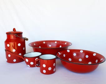 Set of red with white polka dots