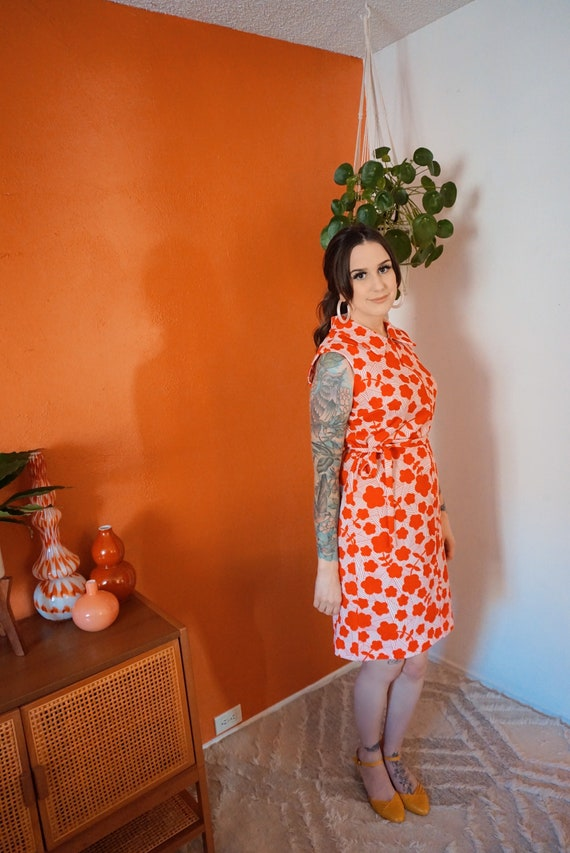 1960s Red Floral Shift Dress