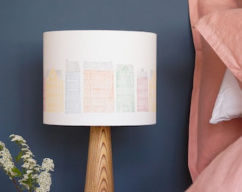 Colourful buildings lampshade