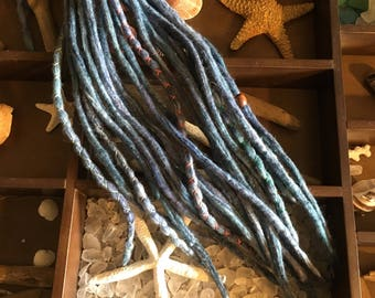 Driftwood Dreads**Light Blue Wool SE Skinny Smooth Dreadlock Hair Extensions Boho Beach Style Braid In 10-20 Pieces