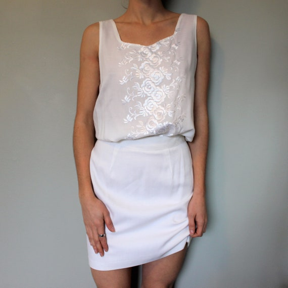 Vintage two piece set • Embroidered shirt • Flora… - image 3