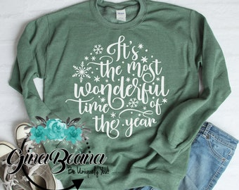 its the most wonderful time of year christmas sweatshirt classic christmas tee believe in magic christmas ginabeana