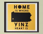 Home Is Where Yinz Heart Is Original Papercut, Pittsburgh Gift, Pittsburgh Art, Pittsburgh Decor, Pittsburgher, Yinzer, Pittsburgh Lover