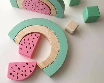 Wooden montessori toy watermelon puzzle stacking toy girl boy birthday gift educational learning natural green smart toddlers preschool kids