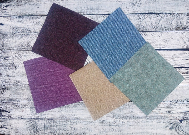 "9/"" Tweed Patchwork 100/% Wool Remnant Offcuts Squares 20 Pieces 23cm"