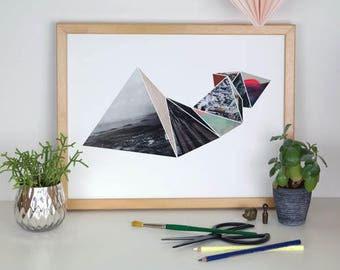 3D Geometric Triangles Collage Print