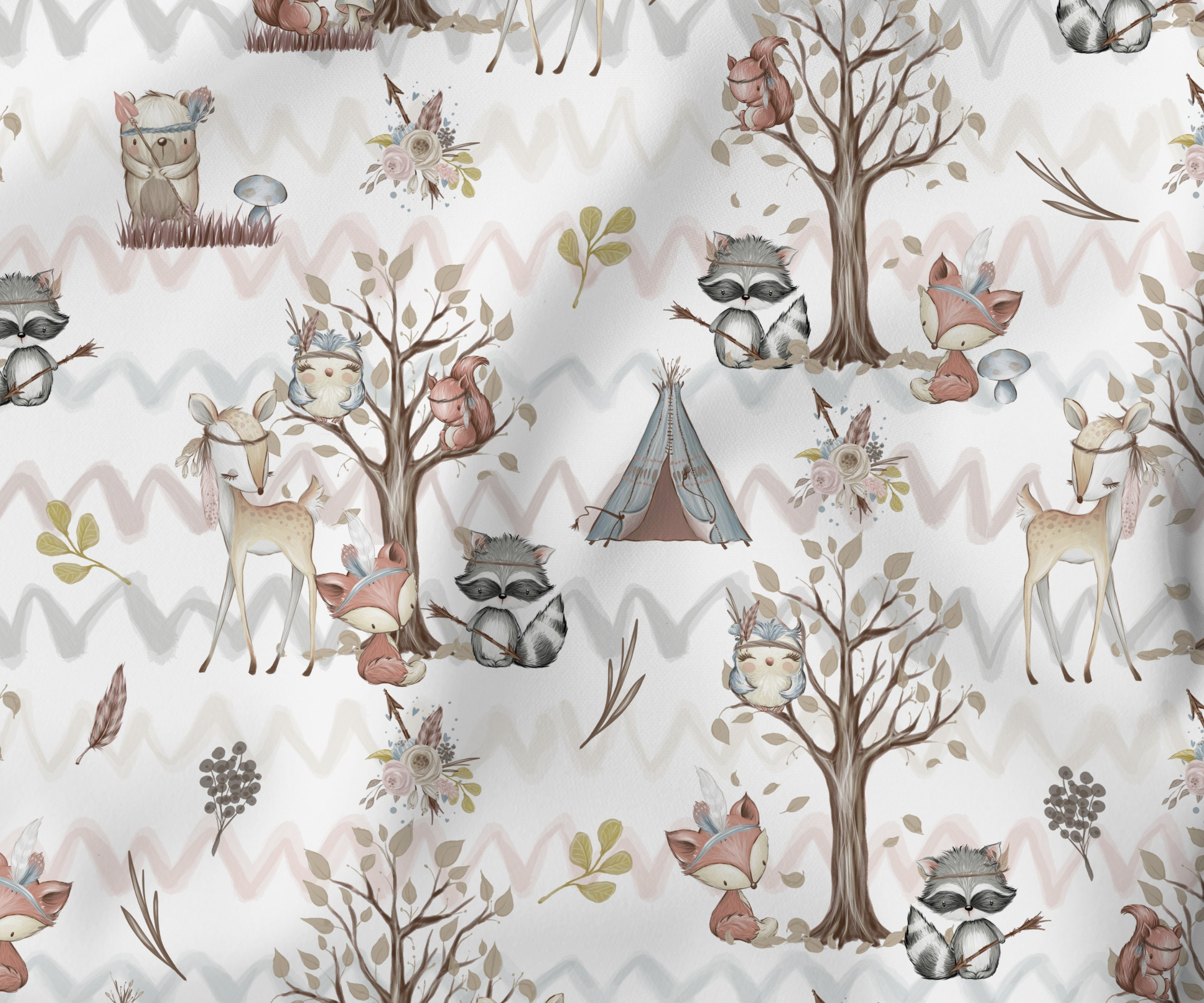 Cotton fabric cotton fabric children's fabric forest friends forest animals fox Bambi bunny raccoon