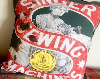 Singer Sewing Machine Vintage Cushion - 14in