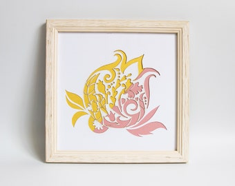 Paper cut Pomegranate, judaica papercut, jewish framed wall decor, judaica wall art, pink and gold wall art, artwork of israel