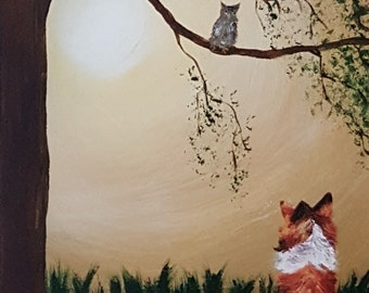 dog and owl in moonlight