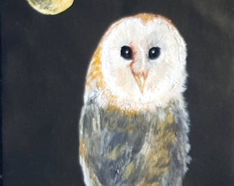 barn owl in moonlight