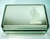 French Art Deco Eglomise Mirrored Box quot Diana The Huntress quot