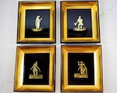Jean Hanau Art Deco Eglomise Decorative Pictures-Lot of 4