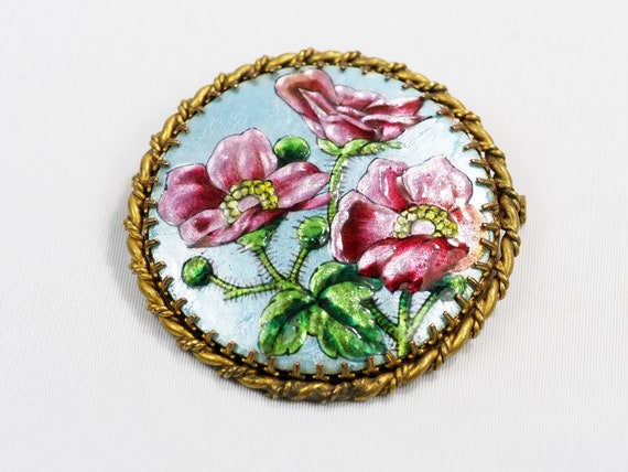 Antique Limoges Enamel Brooch Signed Bardonnaud- C