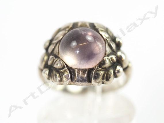 Georg Jensen Silver & Rose Quartz Ring-Circa 1930s