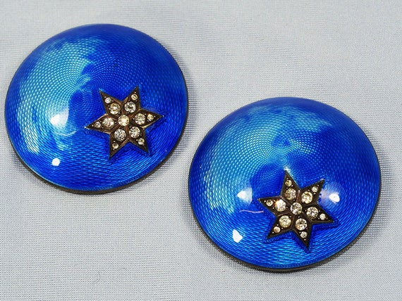 Antique French Silver Enamel Dress Clips-1900s