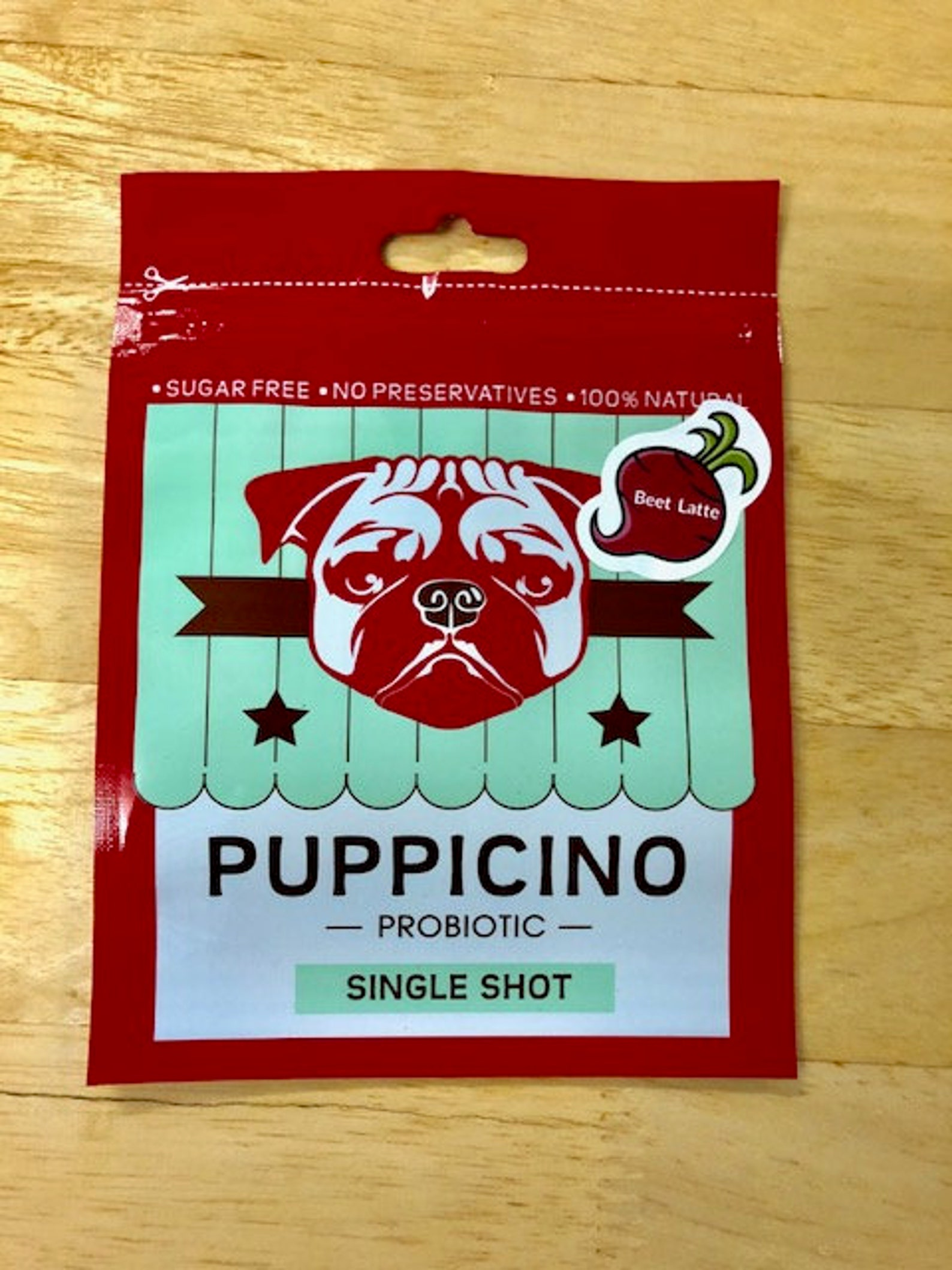 Packaged puppicino for dogs