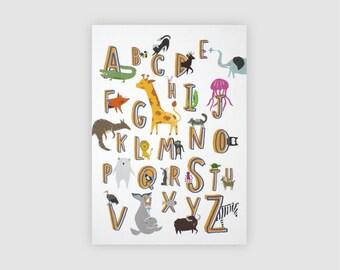 Animal Alphabet Print A3