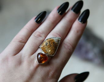 Amber and Hell's Canyon Petrified Wood Statement Ring Sterling Silver Ring Size 8.5
