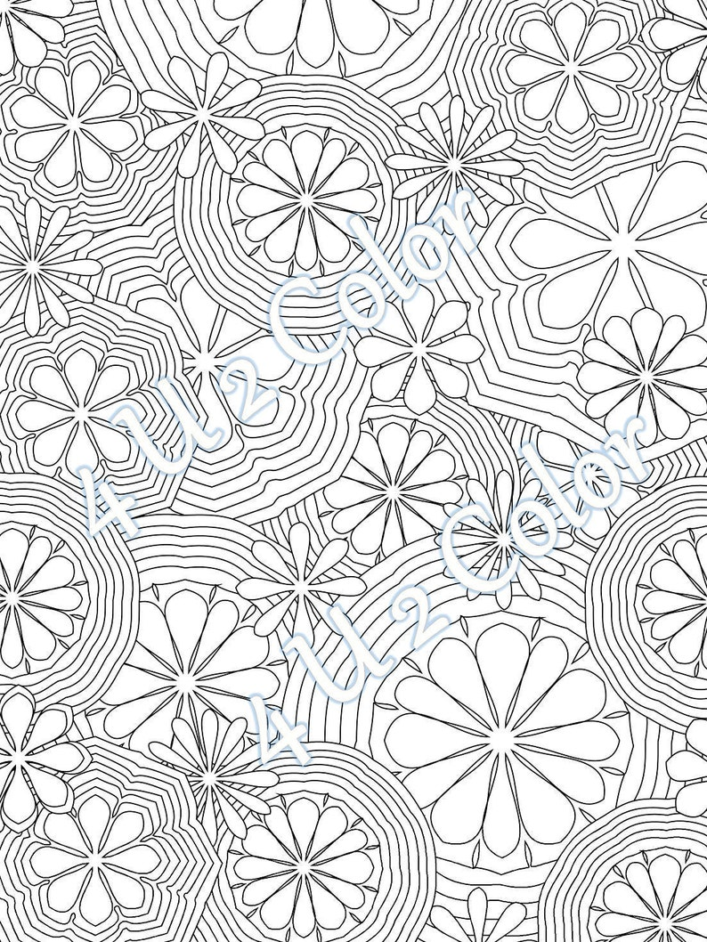 Flower power 1 coloring page flower power coloring page etsy