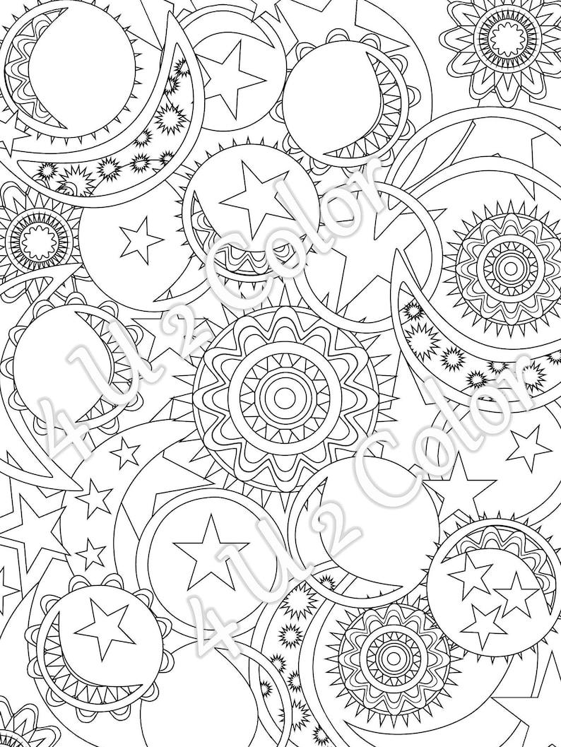 Sun moon stars 1 coloring page sun moon stars etsy