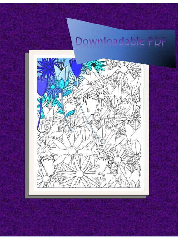 Flower Garden 1coloring Page Flower Garden Coloring Page Etsy