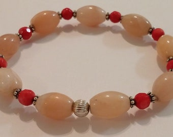 Rose Quartz and Red Coral Bracelet
