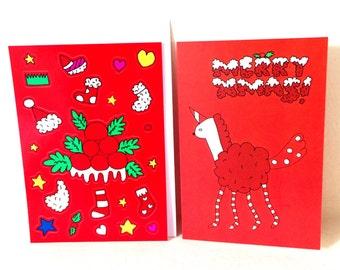 Sushi Unicorn dress-up Christmas card