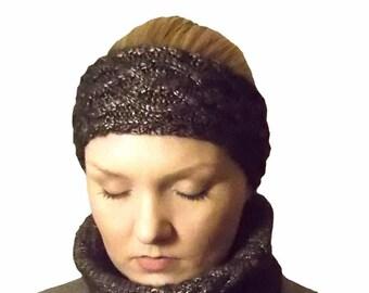 Ruskea kimalteleva panta merinovilla - juhlava panta - tumma villapanta - palmikkoneule - neulepanta - kimalle - kiiltävä - brown headband