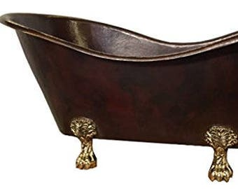 Mexican Copper Bathtub Hand hammered Claw Foot Soaking Tub Double Slipper 67 inches