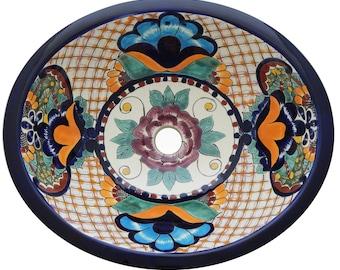 Mexican Bathroom Sink Talavera Drop In Handmade And Hand Painted Folk Art  17 x 14 #X30